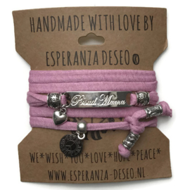 3 x Silver color bar bracelets - Old pink