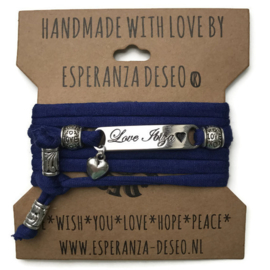 3 x Silver color text bracelets - Indigo blue