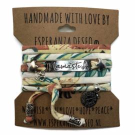 3 x Silver color bar bracelets - Botanic print