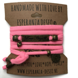 3 x Bronze color text bracelets - Neon pink