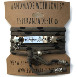 3 x Silver color text bracelets - Dark olive black dots