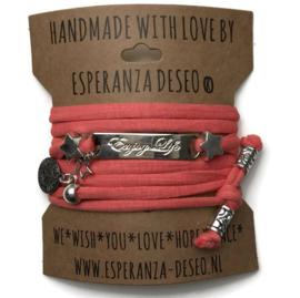 3 x Silver color text bracelets - Dark salmon