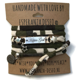 3 x Silver color text bracelets - Army print