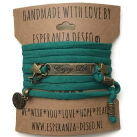 3 x Bronze color text bracelets - Gras green