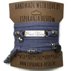 3 x Silver color bar bracelets - Lavender Purple