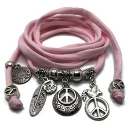 Peace - zilver -  baby roze