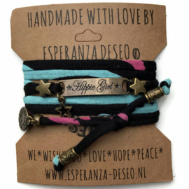 3 x Bronze color text bracelets - Print black turquoise pink