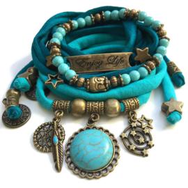 Turquoise set - charm turquoise stone, bar Enjoy Life, turquoise beads