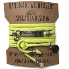 3 x Silver color bar bracelets - Lime yellow