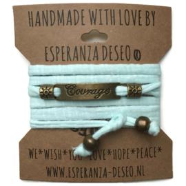 3 x Bronze color text bracelets - Light mint