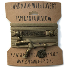 3 x Bronze color text bracelets - Light olive green lycra