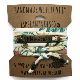 3 x Bronze color text bracelets - Botanic print
