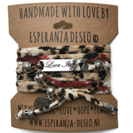 3 x Silver color text bracelets - Animal print creme sand black and brick