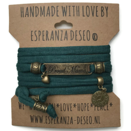 3 x Bronze color text bracelets - dark green