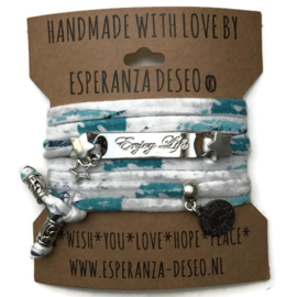 3 x Silver color text bracelets - print white turquoise
