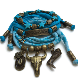 Bronze set hippie Girl - Buffalo turquoise blue
