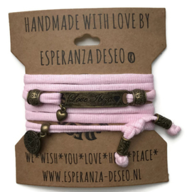 3 x Bronze color text bracelets - Pink ribbles