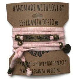 3 x Bronze color text bracelets - Pastel salmon gemeleerd