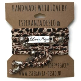 3 x Silver color text bracelets - Leopard