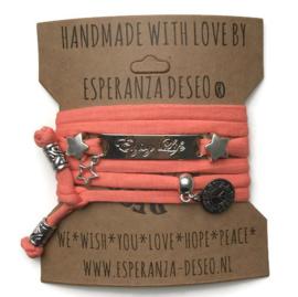 3 x Silver color text bracelets - Salmon
