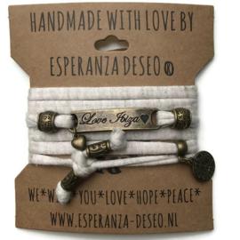 3 x Bronze color text bracelets - Sparkly creme