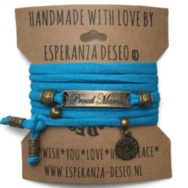 3 x Bronze color text bracelets - Caribbean blue