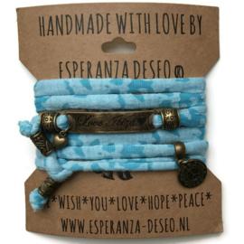 3 x Bronze color text bracelets - Caribbean blue camouflage