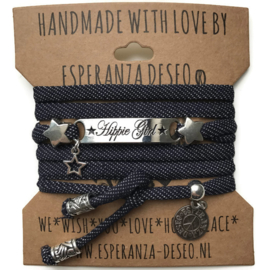 3 x Silver color text bracelets - Blue jeans dots