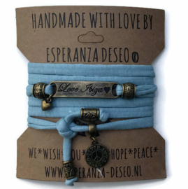 3 x Bronze color text bracelets - Grey blue