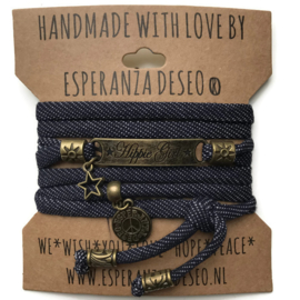 3 x Bronze color text bracelets - Blue jeans dots