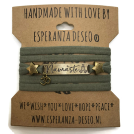 3 x Bronze color text bracelets - Light army green