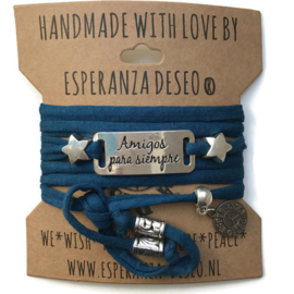 3 x Silver color text bracelets - Petrol blue