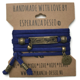 3 x Bronze color text bracelets - Indigo blue