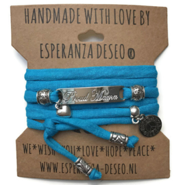 3 x Silver color text bracelets - Caribbean blue