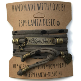 3 x Bronze color text bracelets - Dark olive black dots