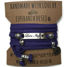 3 x Silver color bar bracelets - Purple