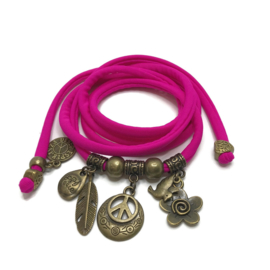 Lycra wikkelarmband - peace - fuchsia roze