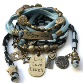 Set Enjoy Life - Live Love Laugh ice blue and black