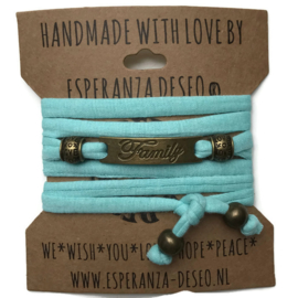 3 x Bronze color text bracelets - Light turquoise green