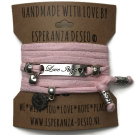 3 x Silver color bar bracelets - Pink and silver dots