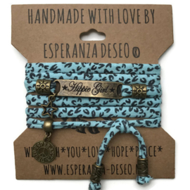 3 x Bronze color text bracelets - Aqua and black animal print