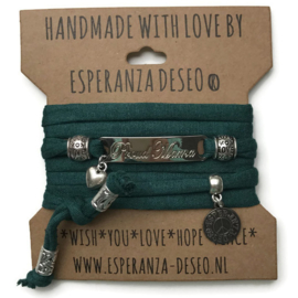 3 x Silver color text bracelets - dark green