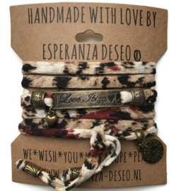 3 x Bronze color text bracelets -Animal print creme sand black and brick