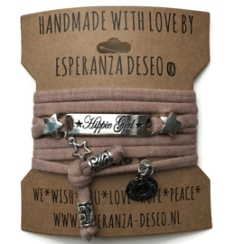 3 x Silver color bar bracelets - Pale taupe