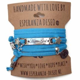 3 x Silver color text bracelets - Caribbean blue light