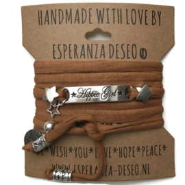 3 x Silver color text bracelets - Camel brown