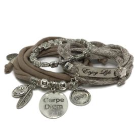 Set Carpe Diem - Enjoy Life - Taupe - katoen