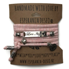 3 x Silver color text bracelets - Pastel salmon gemeleerd