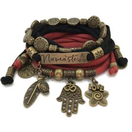 Set Namaste - Hamsa - brons zwart en indian red