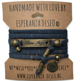 3 x Bronze color text bracelets - Blue and bronze stripes